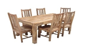 solid light mango wood dining table