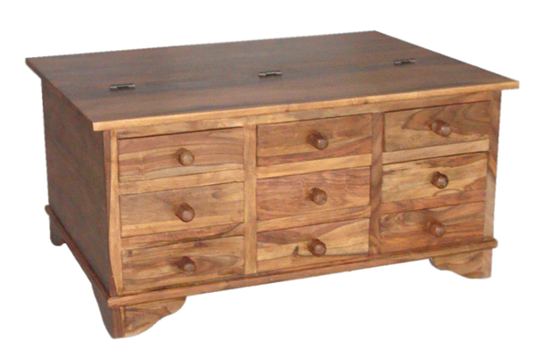 Sheesham trunk coffee table with 12 drawers for 12 drawer coffee table