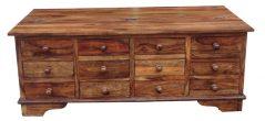 Sheesham Wood Half Trunk Coffee Table 12 drawers