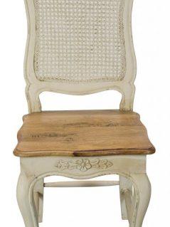 Shabby Chic Painted Mango Wood Rattan Back Chair