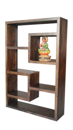 dark mango wood bookcase / display unit