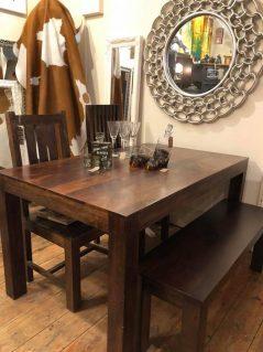 1.45m dark mango wood dining table