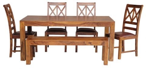sheesham dining table, chairs and bench