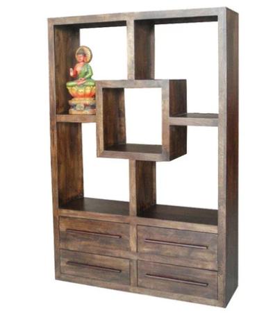Dark Mango Wood Shelf Unit with 4 Drawers