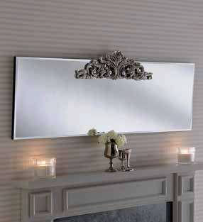 contemporary mantle mirror with carving