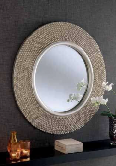 round shape studded silver mirror