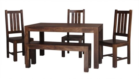 dark mango wood set of dining table, chairs and bench