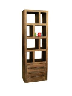 Dark Mango Wood 2 Drawer Bookcase