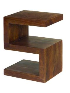 Dark Mango Wood 2 Shelf 'S' Unit