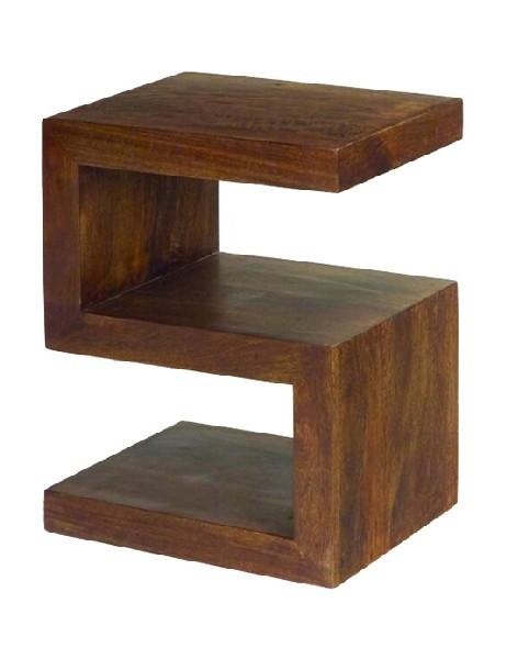 Dark Mango Wood 2 Shelf 'S' Unit