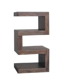 Dark Mango Wood 4 Shelf 'S' Unit