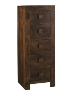 Dark Mango Wood 5 Drawer Tall Boy