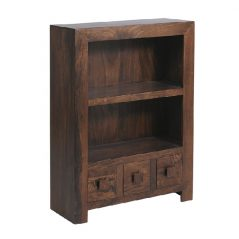 Dark Mango Wood Bookcase with Drawers