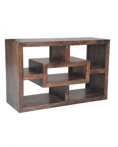 Dark Mango Wood Geometric Design TV Stand / Media Unit