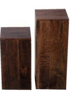 Dark Mango Wood Set Of 2 Block Tables