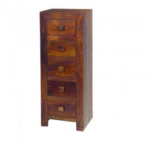 Dark mango wood 5 drawer chest tall boy