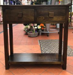dark mango wood hallway table console table with 1 shelf and 2 drawers