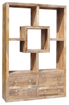 Light mango wood Bookcase with Four Drawers