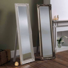 white silver ornate leaner cheval mirror