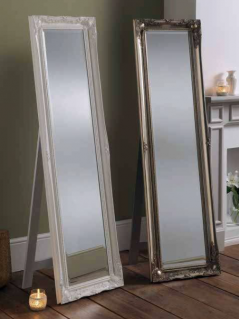 white silver ornate leaner cheval mirror