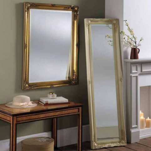 gold ivory ornate leaner mirror