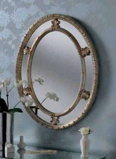 oval silver ornate gilt mirror