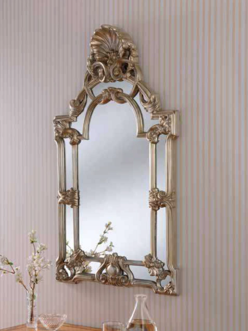 silver ornate gilt mirror