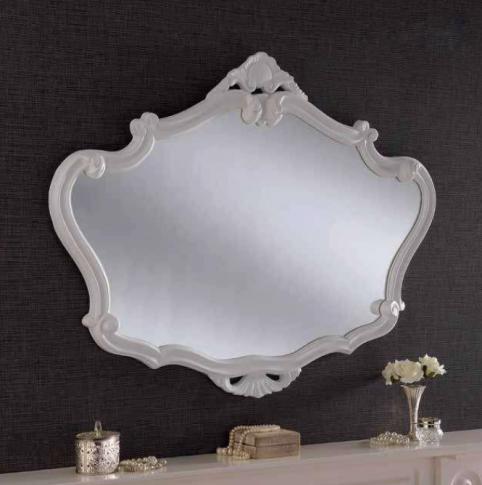 white ornate gilt mirror
