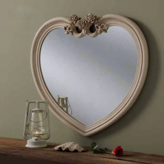 ivory heart ornate gilt mirror
