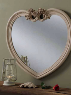 ivory heart ornate gilt mirror