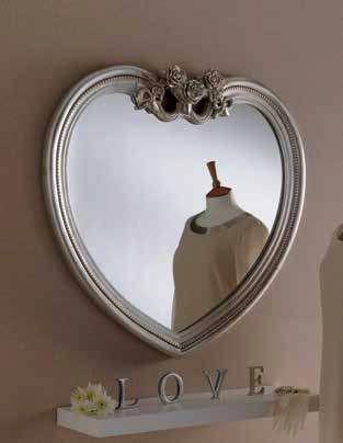 silver heart ornate gilt mirror