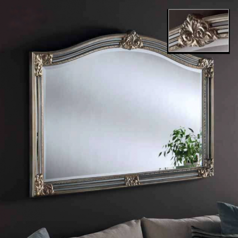 silver grey overmantle mirror