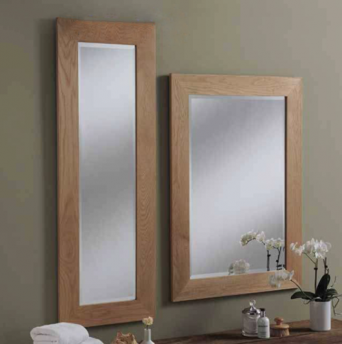 solid oak rectangular mirror