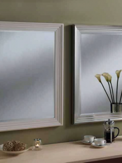 white silver rectangular classic mirrors