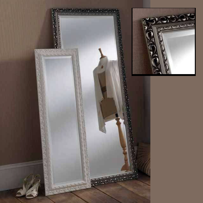 white silver rectangular mirrors