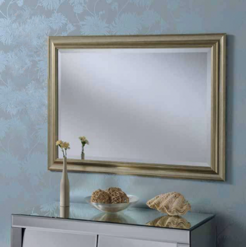 silver rectangular mirror