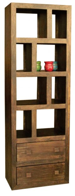 Dark Mango Wood Bookcase with 2 Drawers