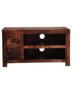 Dark Mango Wood 2 Drawer TV and Media Unit