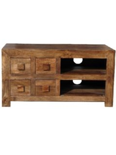 Dark Mango Wood 4 Drawer Media Unit