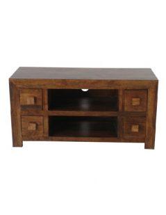 Dark Mango Wood 4 Drawer TV stand and Media Unit