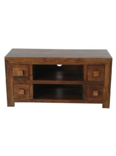 Dark Mango Wood 4 Drawer TV stand and Media Unit