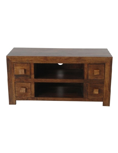 new style f467f 021ff Dark Mango Wood Four Drawer Media Unit
