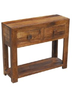 Dark mango wood Console Table with 2 Drawers