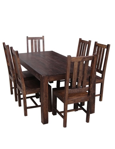 175cm Dark Mango Wood 6 seater Large Dining Table