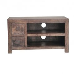 dark mango wood TV stand media unit with 2 drawers and 2 shelves