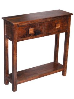 dark mango wood console table with two drawers