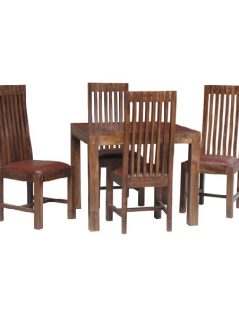 dark mango wood square dining table with four chairs