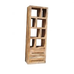 light mango wood bookcase with two drawers