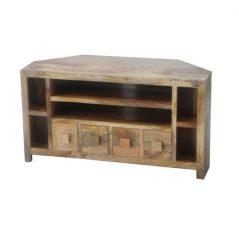 light mango wood corner media unit with 4 drawers