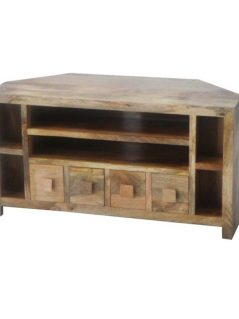 light mango wood corner media unit with 4 drawers